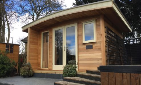 Beautiful Cedar Clad Curved Roof Office